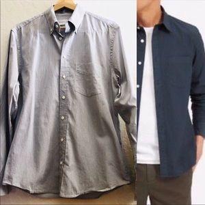 Everlane long sleeved button down gray shirt